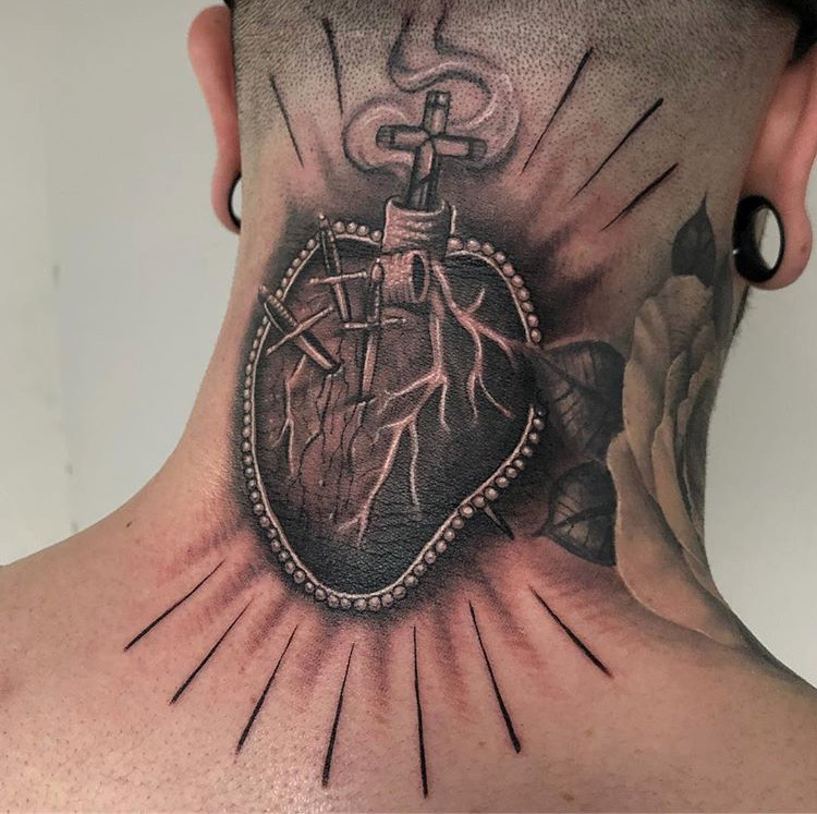 Custom Black and Grey Sacred Heart Neck Tattoo by Ramon Marquez at Certified Tattoo Studios Denver Co.JPG