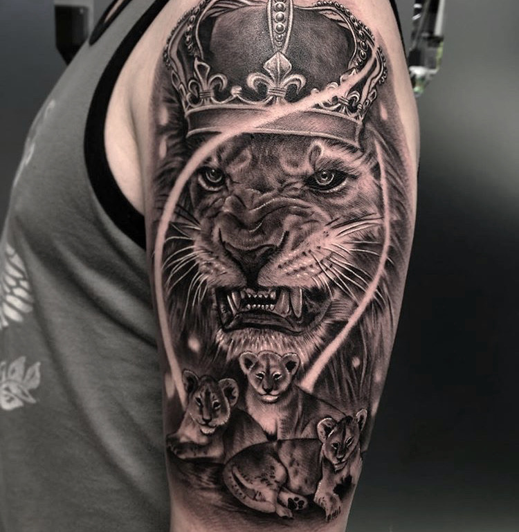 Custom Black and Grey Lion wih a Crown and Three Cubs Tattoo by Ramon Marquez at Certified Tattoo Studios Denver CO.JPG