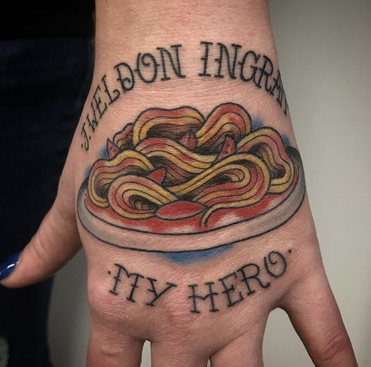 Custom Full Color Traditional Plate of Spaghetti and Lettering Hand Tattoo by Jon Hanna at Certified Tattoo Studios Denver CO.jpeg
