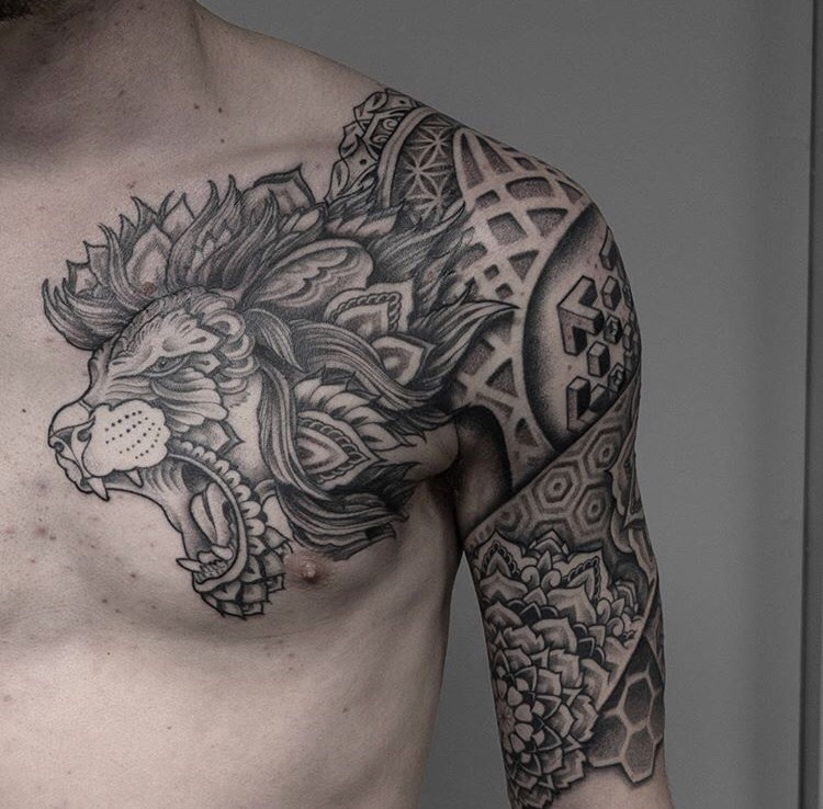 Custom Mandal Roaring Lion Tattoo by Jon Hanna at Certified Tattoo Studios Denver CO.jpg