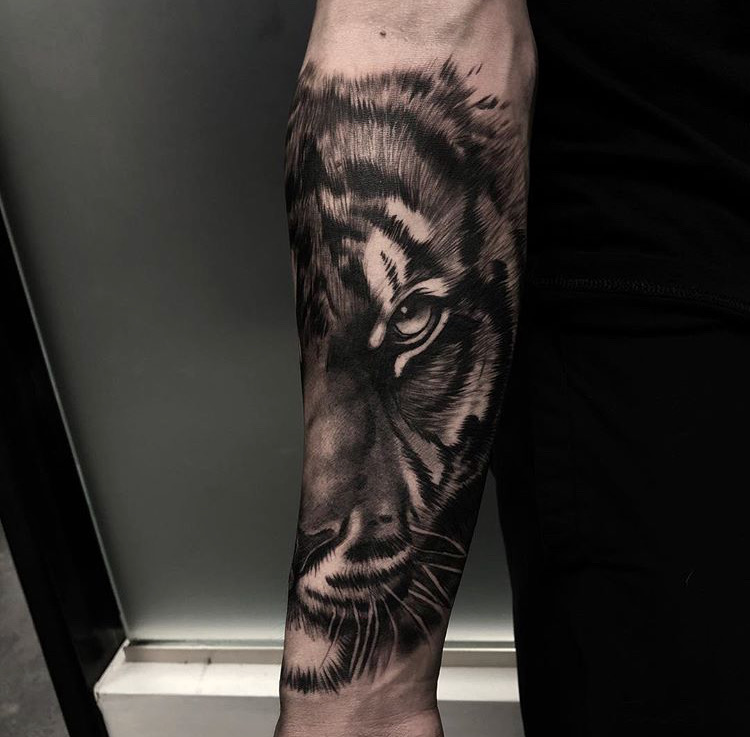 Custom Black and Grey Angry Wolf in Smoke Tattoo by Bryan Alfaro at Certified Tattoo Studios Denver CO  (4).JPG