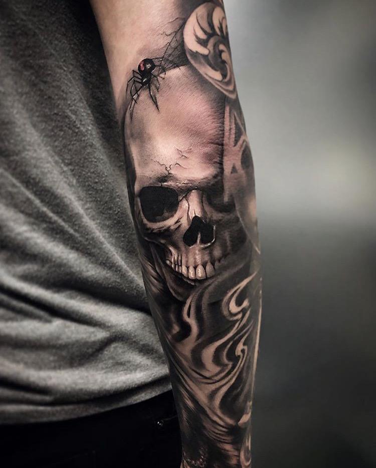 Custom Black and Grey Skull in Smoke with Black Widow Tattoo by Bryan Alfaro at Certified Tattoo Studios Denver CO  (9).JPG