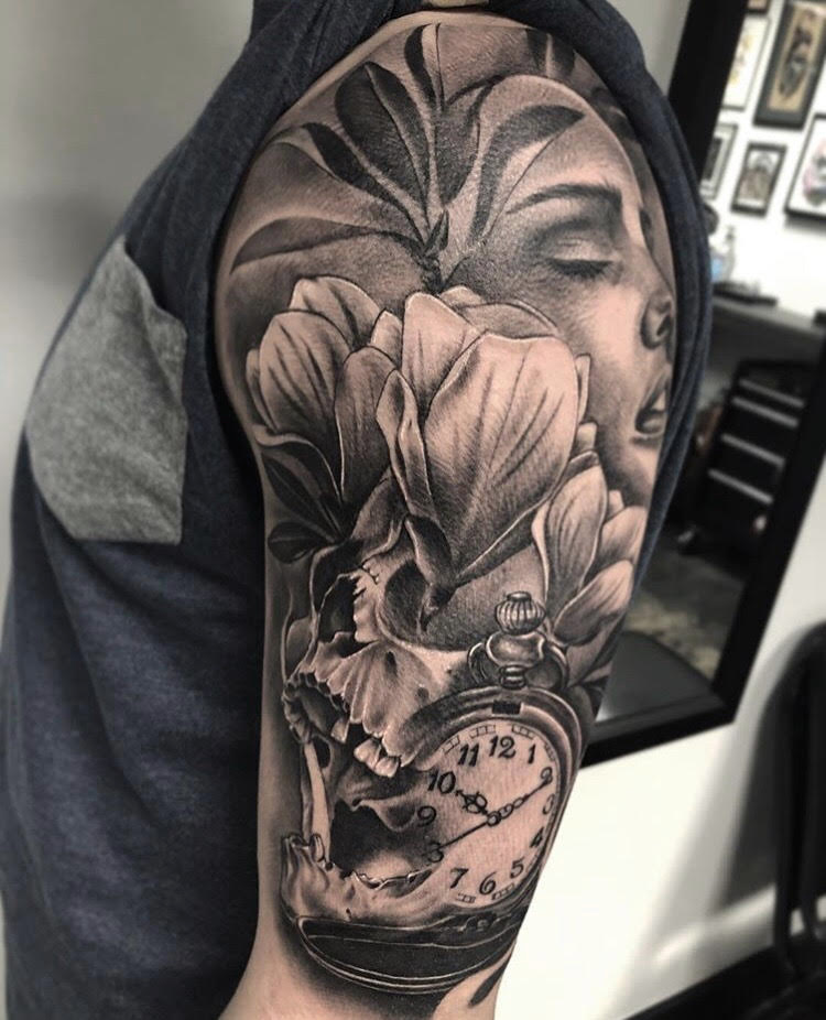Custom Black and Gray Flowers Skull and Clock Tattoo by Ramon at Certified Tattoo Studios Denver Co.jpg