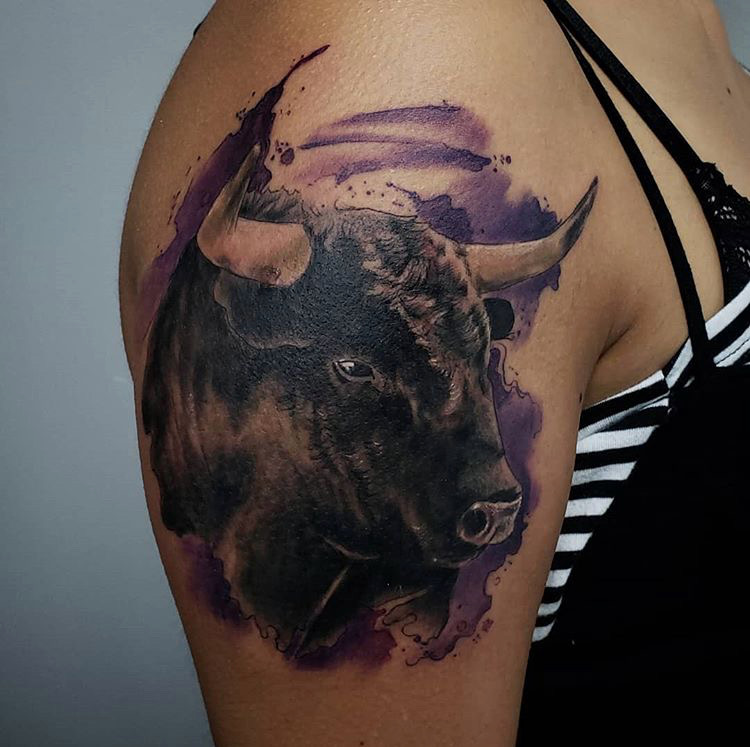 Custom Water Color Bull Tattoo by Jeff Terrel at Certified Tattoo Studios Denver Co .JPG