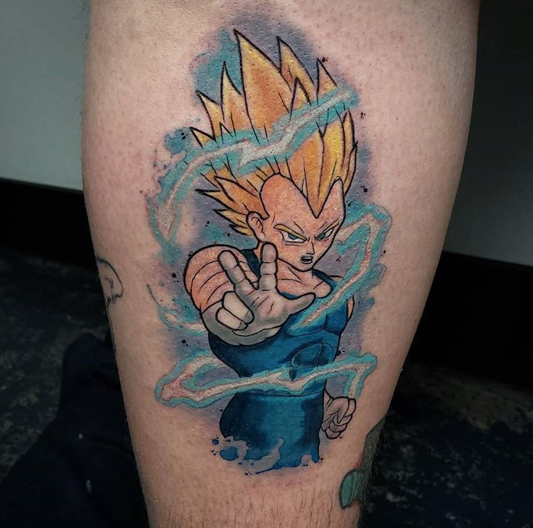 Custom Water Color Dragon Ball Z Vegeta Tattoo by Jeff Terrel at Certified Tattoo Studios Denver Co.JPG