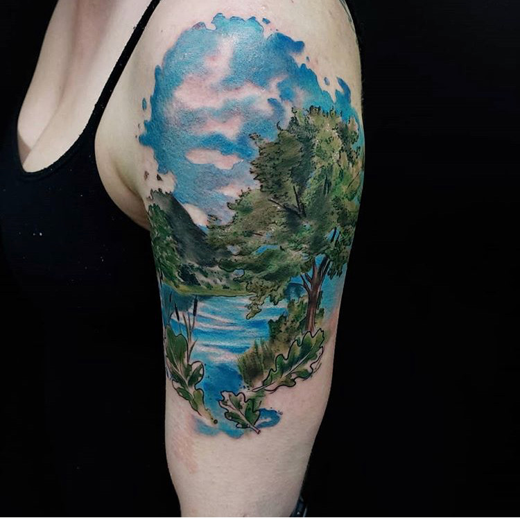Custom Water Color River and Trees Scenery Tattoo by Jeff Terrel at Certified Tattoo Studios Denver Co .JPG