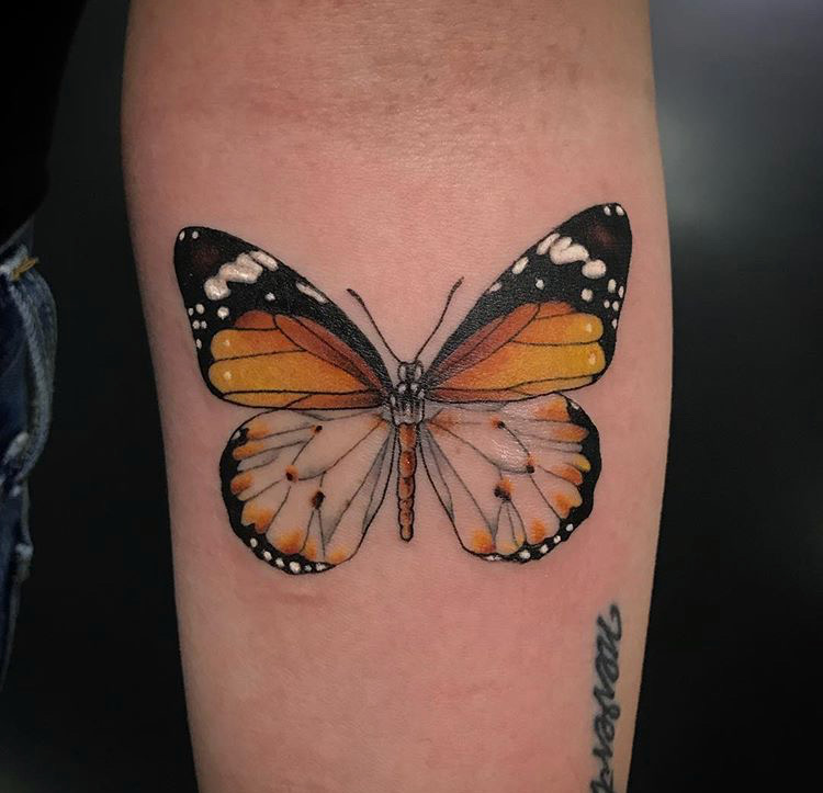 Custom Color Monarch Butterfly Tattoo by Jon Hanna at Certified Tattoo Studios Denver CO .JPG