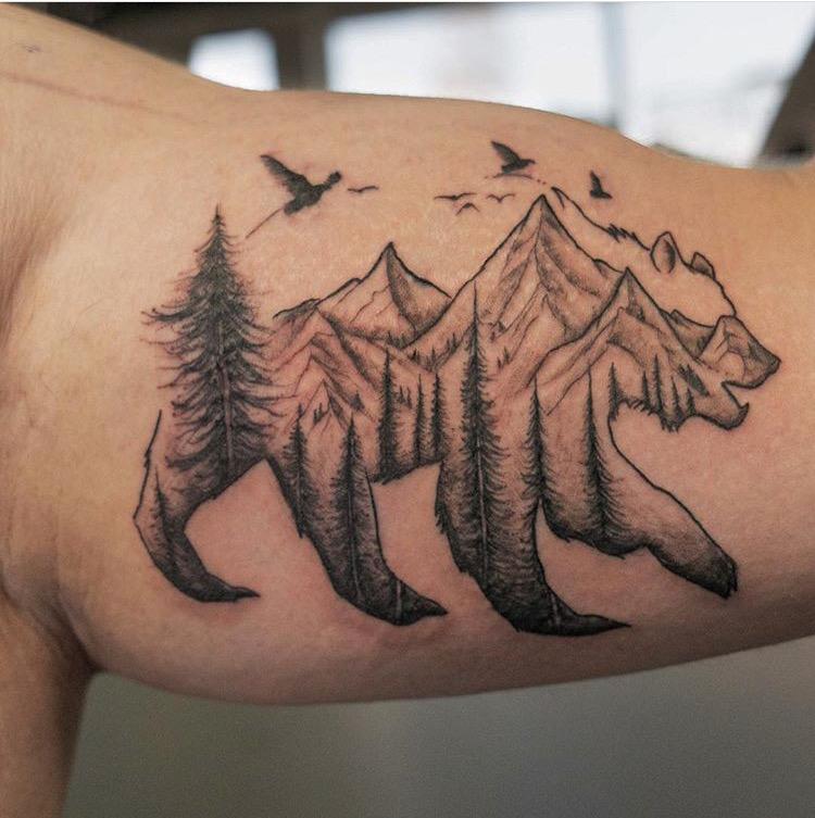 Custom Black Work Mountain Scene inside Bear Tattoo by Meikel Castellon at Certified Tattoo Studios Denver Co.JPG