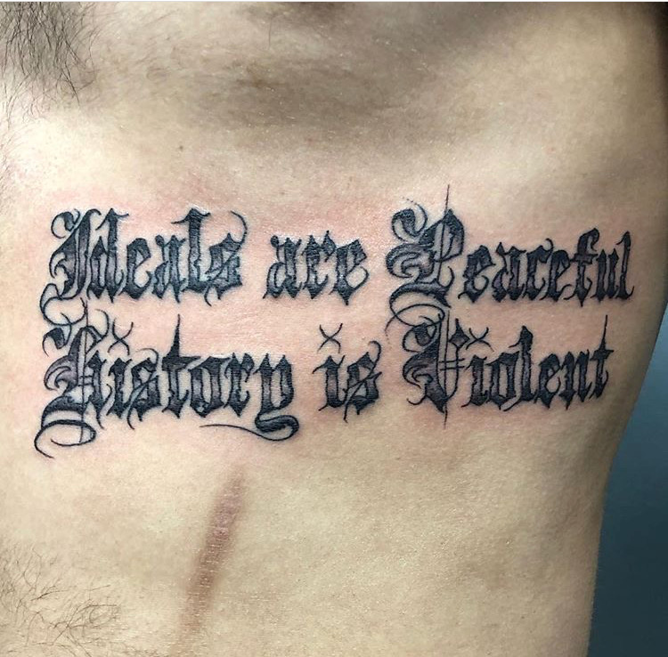 Custom Black Work Old English Lettering Tattoo by Meikel Castellon at Certified Tattoo Studios Denver Co    .JPG