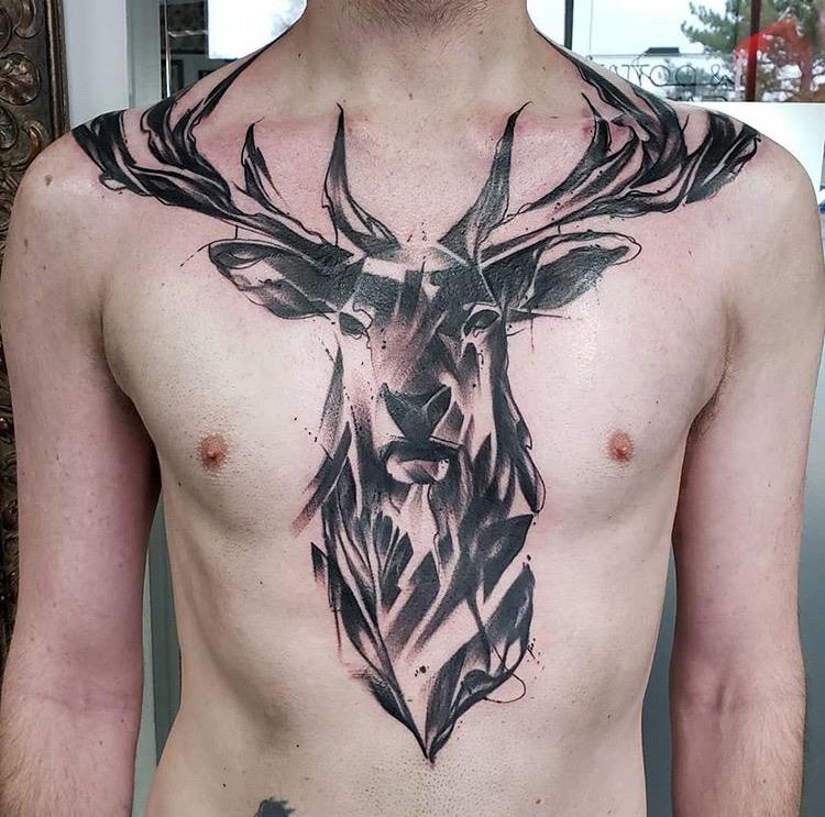 Custom Black Work Abstraact Deer Tattoo by Mike Piper at Certified Tattoo Studios Denver Co .JPG