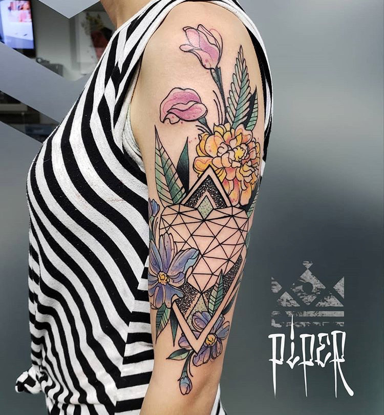 Custom Full Color Flowers Geometric Tattoo by Mike Piper at Certified Tattoo Studios Denver Co  .JPG