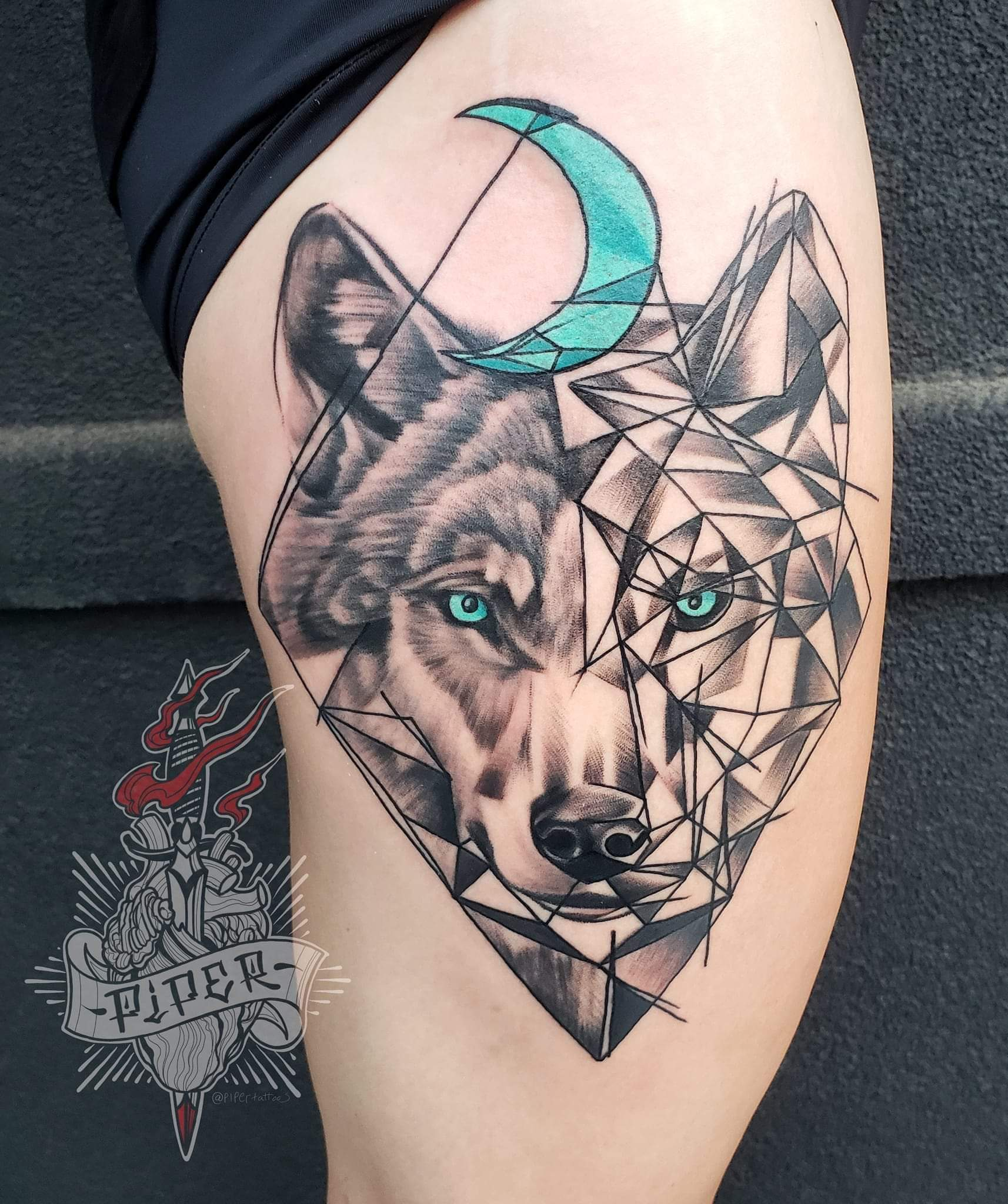 Custom Geometric Wolf Portrait and Cresent Moon Tattoo by Mike Piper at Certified Tattoo Studios Denver Co .jpg