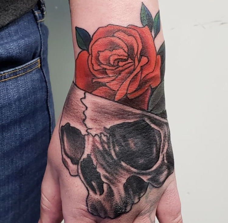 Custom Skull and Rose Tattoo by Mike Piper at Certified Tattoo Studios Denver Co .JPG