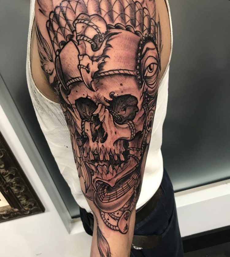 Custom Black and Grey Skull in Native Head Dress Half Sleeve Tattoo by Michael Myers at Certified Tattoo Studios Denver Co  .JPG