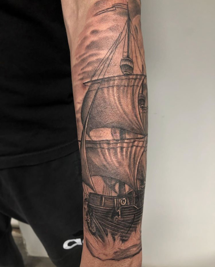 Custom Black and Grey Sailing Ship Tattoo by Ramon Marquez at Certified Tattoo Studios Denver Co .JPG