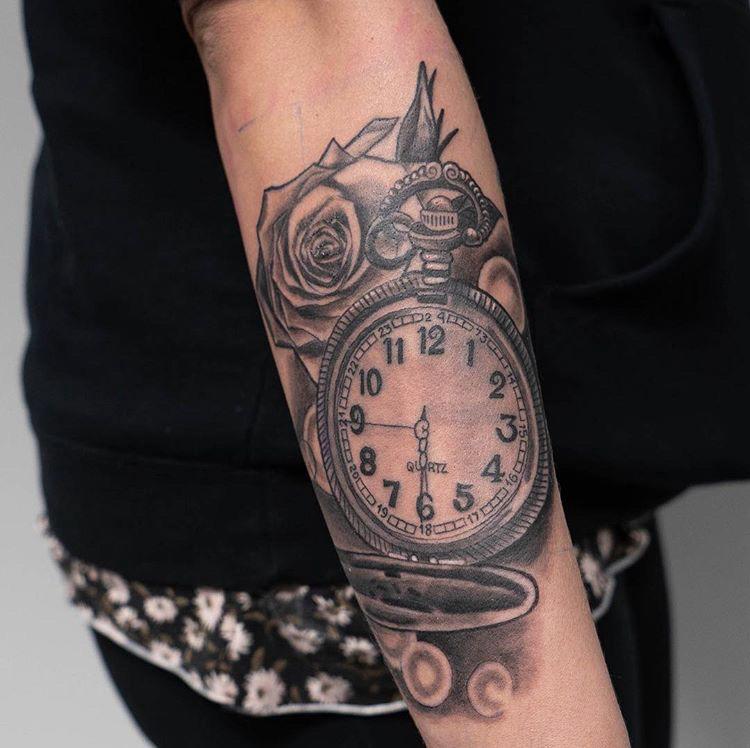 Custom Black and Grey Clock and Roses Tattoo by Ruben Trujillo at Certified Tattoo Studios Denver Co.JPG