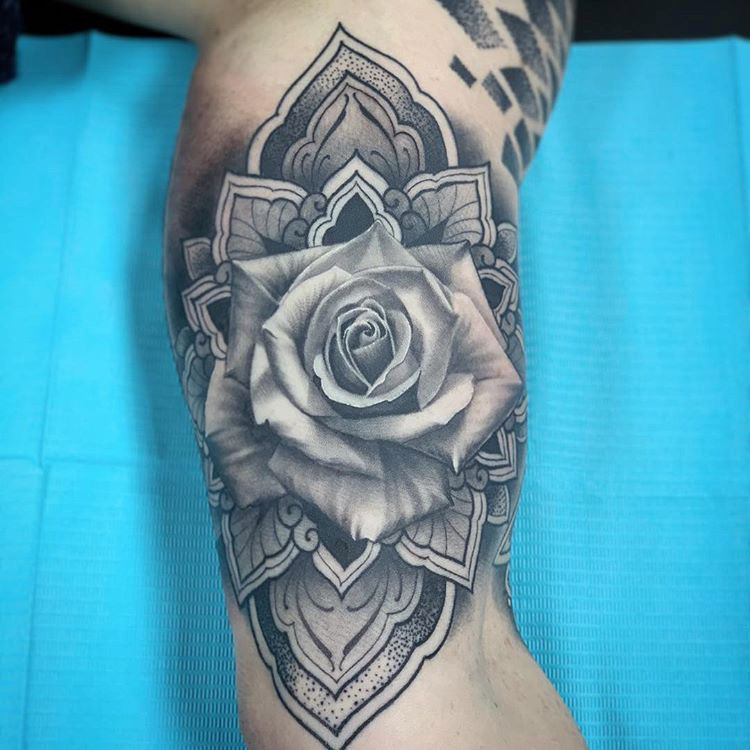 Custom Black and Grey Rose with Lace Background tattoo by Salvador Diaz at Certified Tattoo Studios Denver Co .JPG