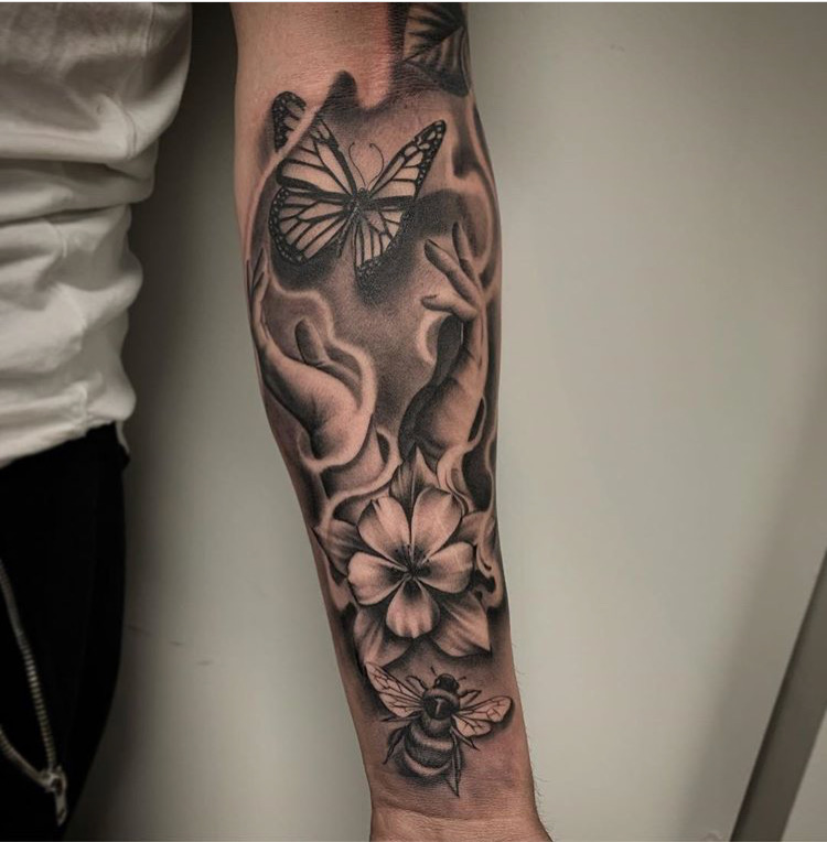 Custom Black and Grey Columbine Flower Bumble Bee and Butterfly Tattoo by Salvador Diaz at Certified Tattoo Studios Denver Co .JPG