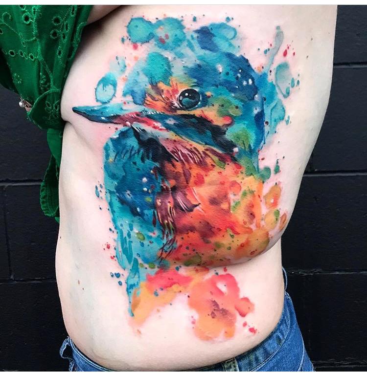 Custom Water Color Blue Bird Tattoo by Skyler Espinoza at Certified Tattoo Studios Denver CO.JPG