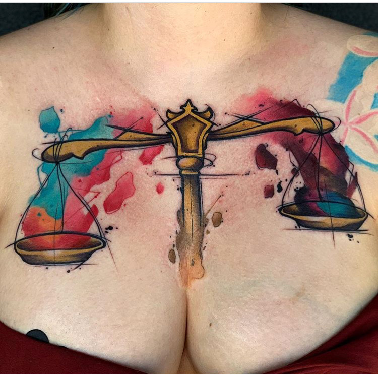 Custom Water Color Libra Scale Tattoo by Skyler Espinoza at Certified Tattoo Studios Denver CO .JPG