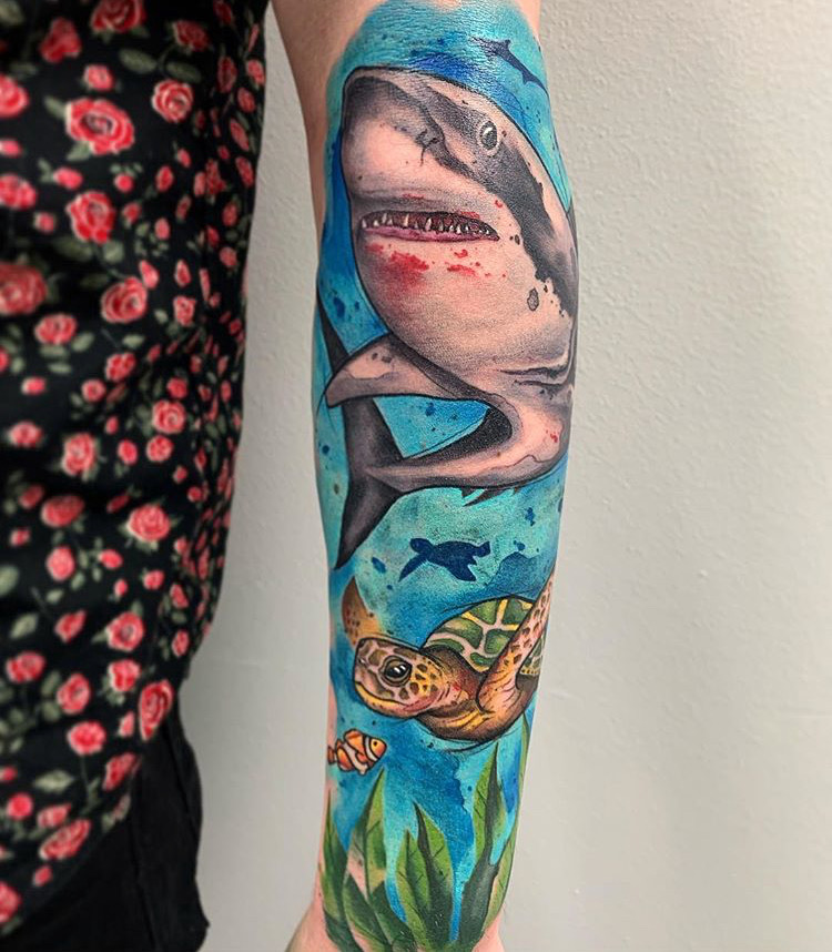 Custom Water Color Shark and Sea Turtle Half Sleeve Tattoo by Skyler Espinoza at Certified Tattoo Studios Denver Co .JPG