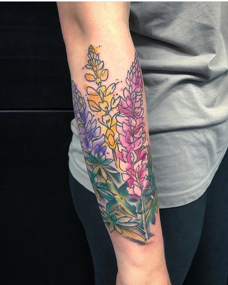 Custom Water Color Wild Flowers Tattoo by Spencer Reisbeck at Certified Tattoo Studios Denver Co.JPG