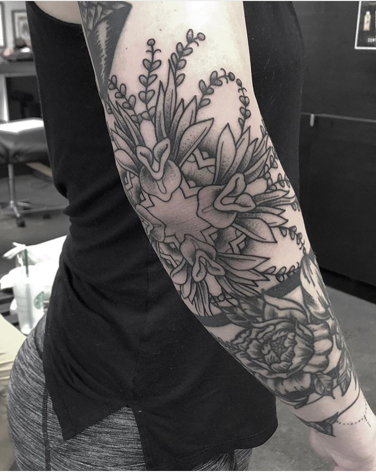 Custom Black Work Mandala Flower Tattoo by Spencer Reisbeck at Certified Tattoo Studios Denver CO .JPG