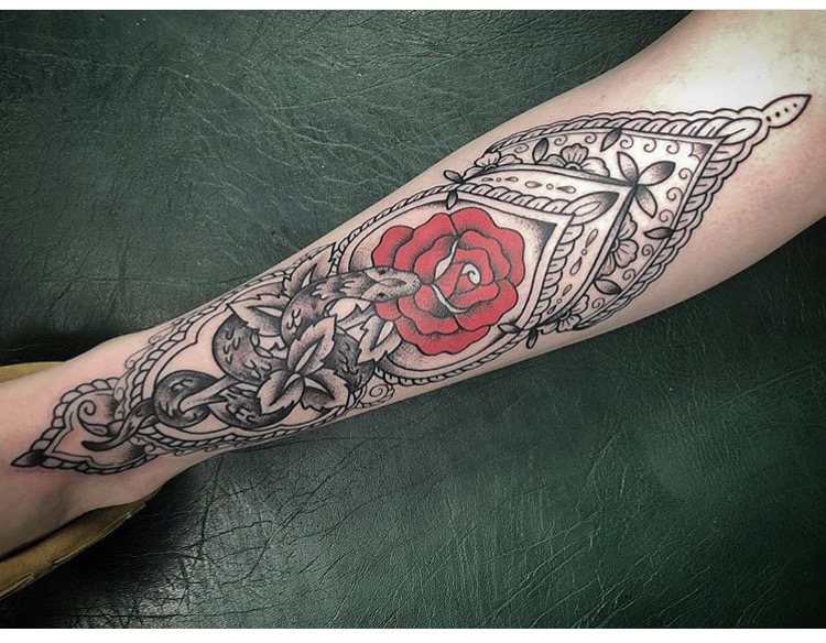 Custom Traditional Red Rose and Snake with Lace Background Tattoo by Spencer at Certified Tattoo Studios Denver CO .JPG