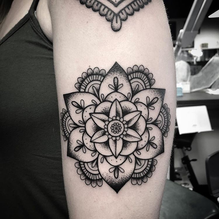 Custom Flower Mandala Tattoo by Spencer Reisbeck at Certified Tattoo Studios Denver CO .JPG