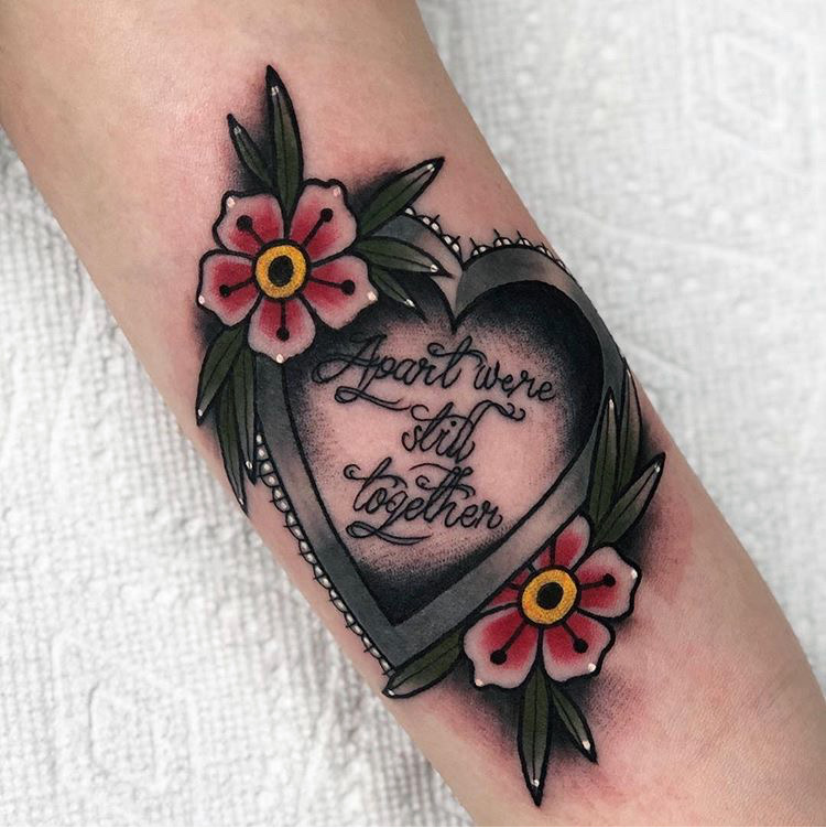 Custom Neo Traditional Columbine Flowers Heart and Quote Tattoo by Alec Rowe at Certified Tattoo Studios Denver Co .JPG