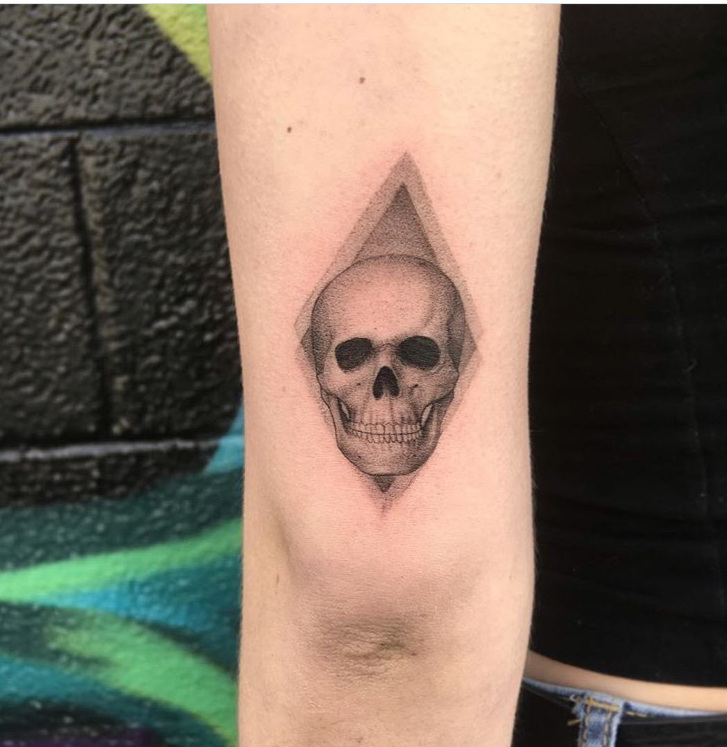 Custom Fine Line Geometric Skull Tattoo by Bj Storms at Certified Tattoo Studios Denver Co.JPG