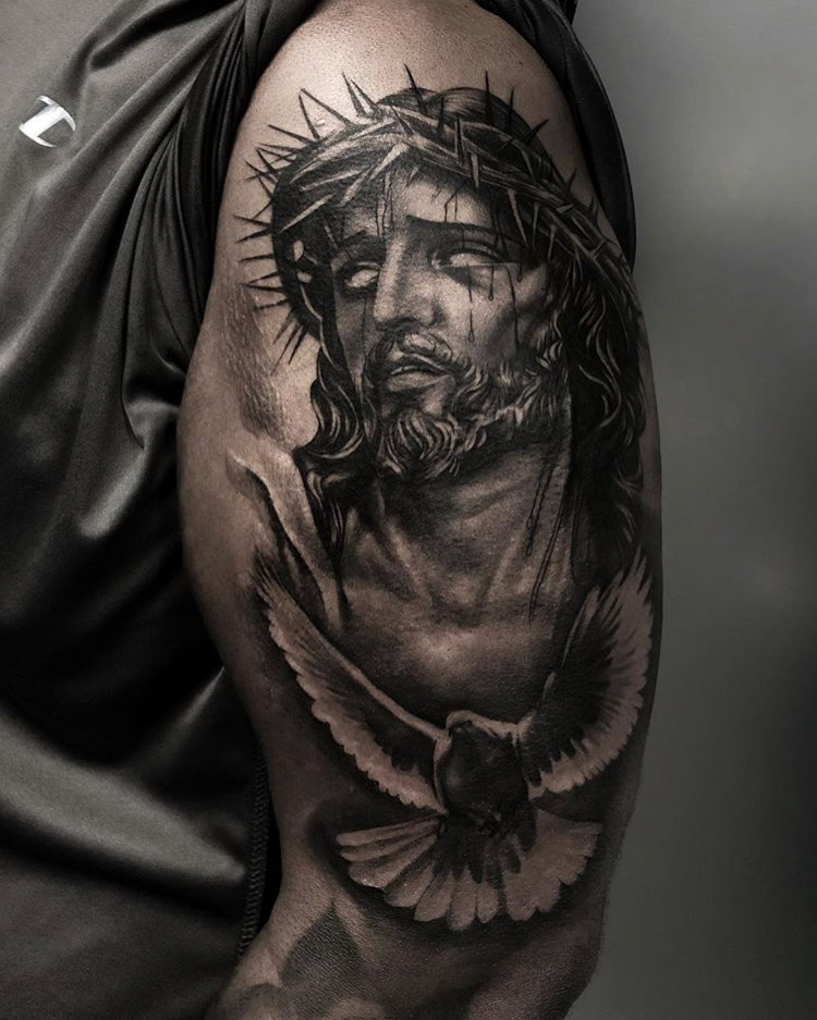 Custom Black and Grey Jesus Christ Portrait and Flying Dove Tattoo by Bryan Alfaro at Certified Tattoo Studios Denver CO .JPG