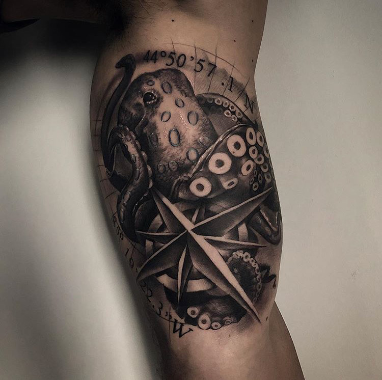 Cutsom Black and Grey Octopus and Compass Tattoo by Bryan Alfaro at Certified Tattoo Studios Denver Co.JPG