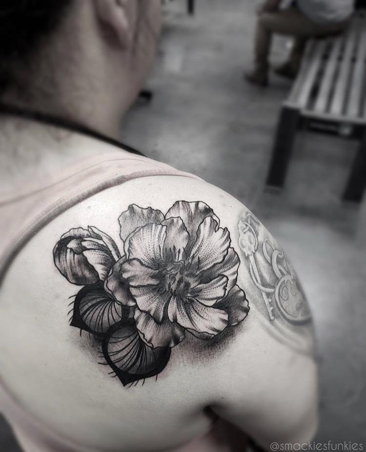 Custom Illustrative Black Work Peony Tattoo by David Perea at Certified Tattoo Studios Denver CO  .JPG