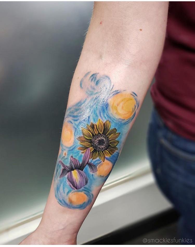 Custom Illustrative Van Gogh Starry Night with Flowers Tattoo by David Perea at Certified Tattoo Studios Denver CO  .JPG
