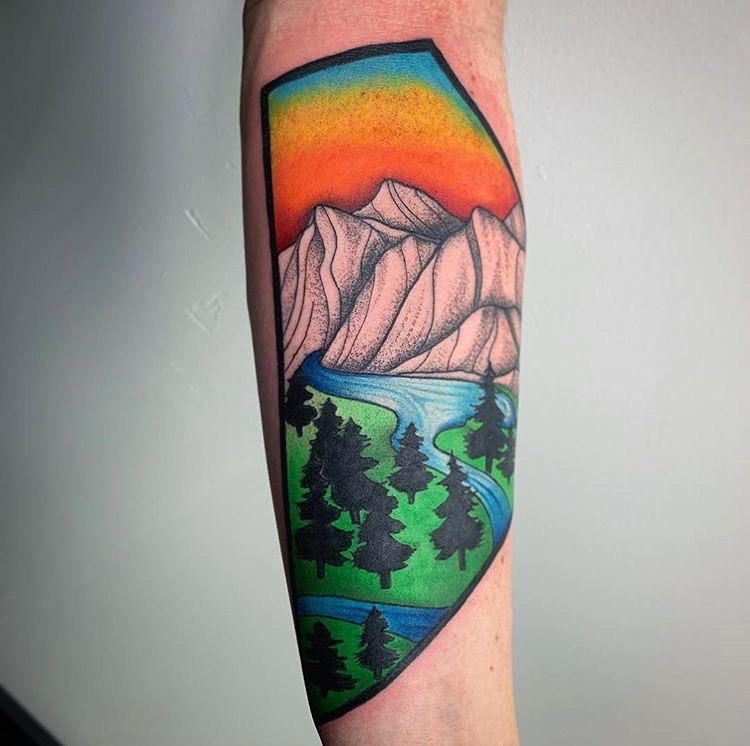 Custom Full Color Illustrative Mountain Scene Tattoo by Darious Malone at Certified Tattoo Studios Denver Co.JPG
