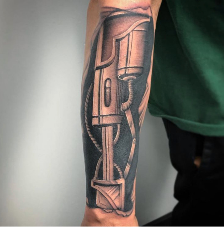 Custom Black and Grey Mechanical Arm Tattoo by Darious Malone at Certified Tattoo Studios Denver Co .JPG