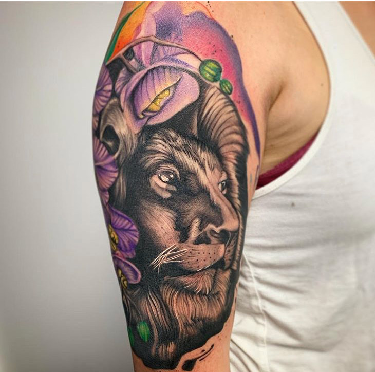 Custom Illustrative Black and Grey Lion Head and Colorful Flowers Tattoo by Darious Malone at Certified Tattoo Studios Denver Co .JPG