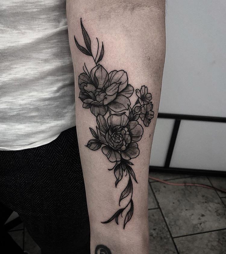 Custom Black Work Peony Flowers by Gabriel Mondragon at Certified Tattoo Studios Denver Co.JPG