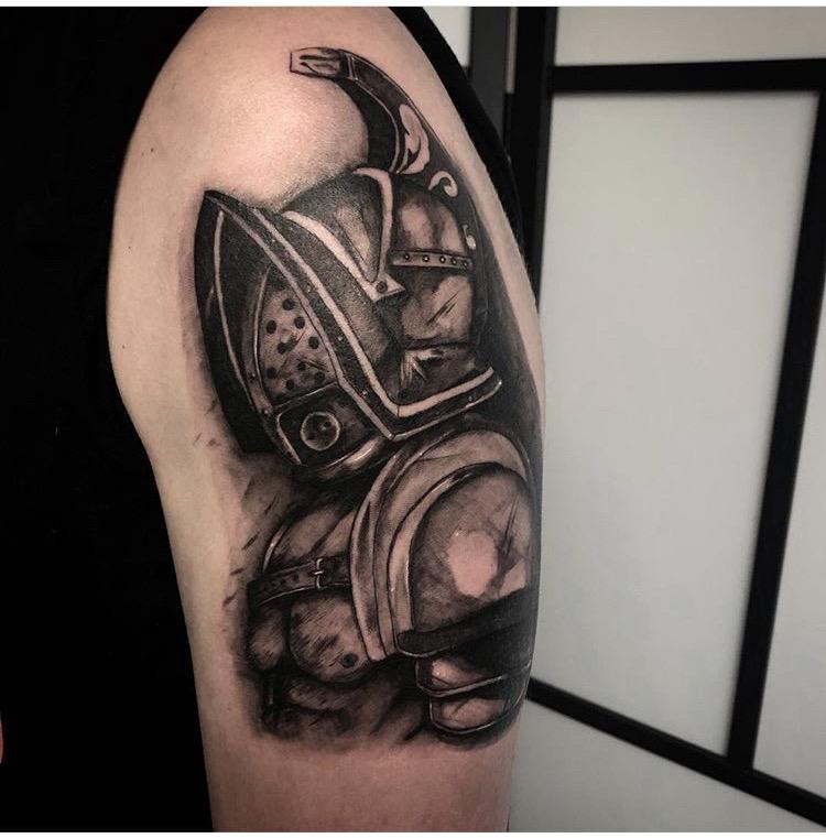 Custom Black Work Knight in Armor Tattoo by Gabriel Mondragon at Certified Tattoo Studios Denver Co  .JPG