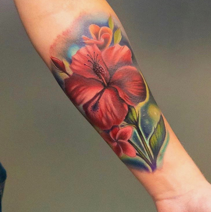 Custom Full Color Pink Hibiscus Tattoo by Jean Yepes at Certified Tattoo Studios Denver Co.JPG