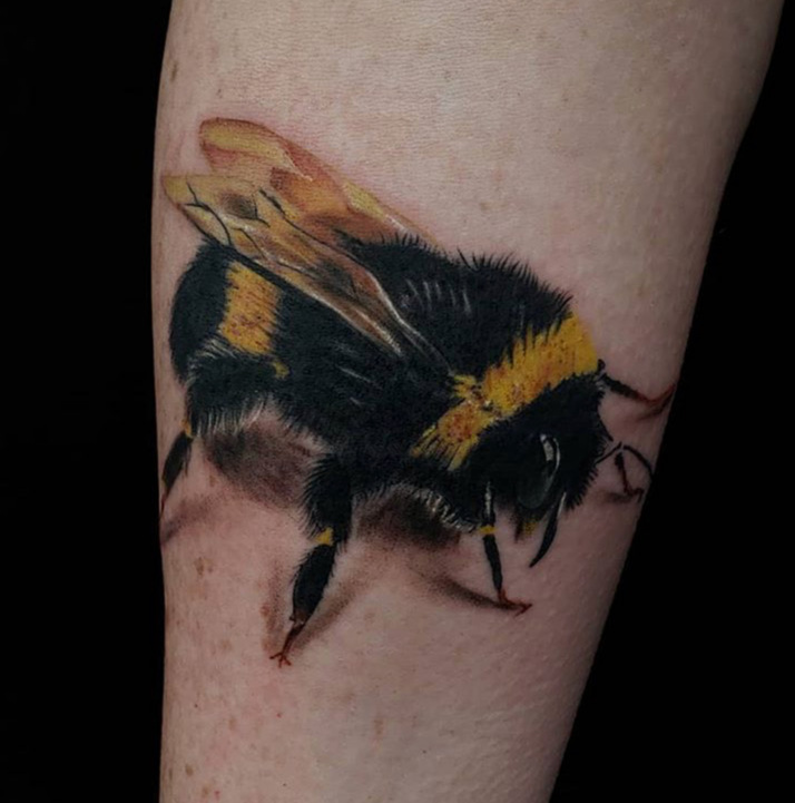 Custom Full Color Bumble Bee Tattoo by Jeff Terell at Certified Tattoo Studios Denver Co .JPG