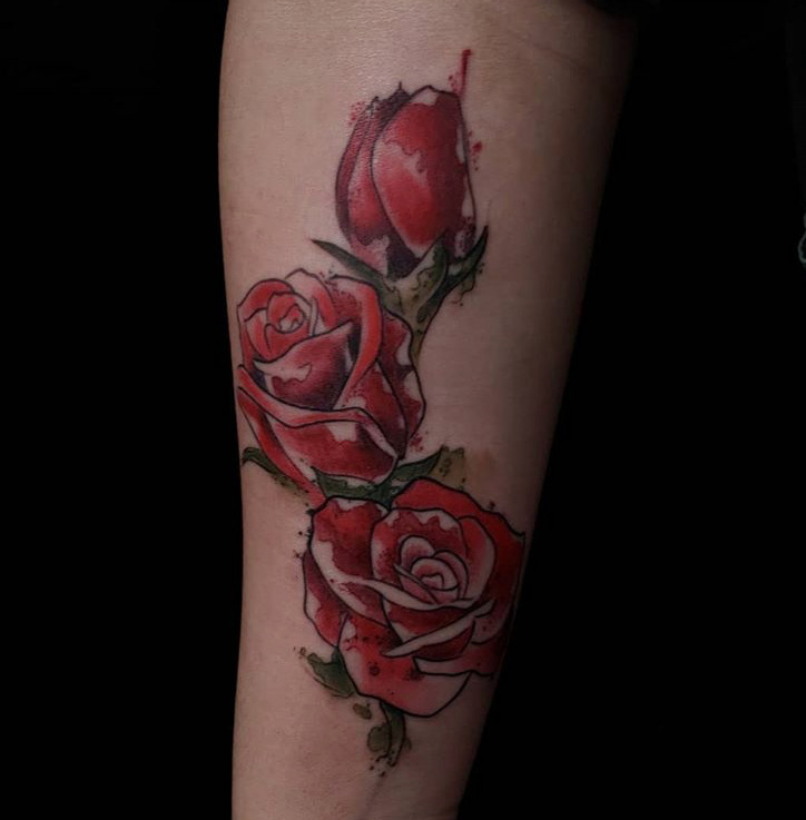Custom Water Color Red Roses Tattoo by Jeff Terell at Certified Tattoo Studios Denver Co  .JPG