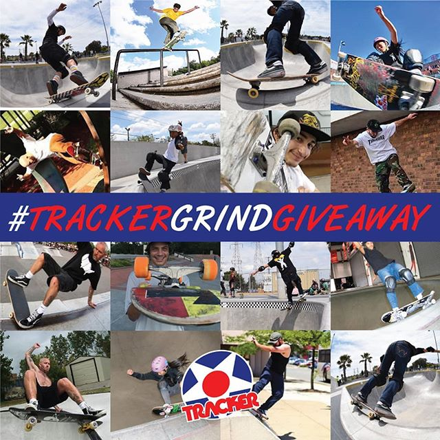 We want to see some #Grinds, and to show our appreciation we are going to give away some trucks, and t-shirts.  Here is how to win: Post a clip of you grinding something: a rail, coping, a curb, whatever. WINNER CHOSEN AT RANDOM. YOU DON'T HAVE TO HAVE THE BEST GRIND, YOU JUST HAVE TO GRIND!  In that post you must mention @TrackerTrucks and use #TrackerGrindGiveaway. You must also tag and give credit to your videographer/friend with a phone (the guy who shot the clip). NOTE: You can grind on any kind of trucks, doesn't have to be Trackers.  We will post each entry as they come in, on our Story. The winners clip will be posted on the Tracker Feed. WINNER WILL RECEIVE A SET OF TRUCKS AND A TSHIRT, AS WELL AS A SET OF TRUCKS AND A TSHIRT FOR THE GUY WHO SHOT YOUR CLIP. Contest submissions will be accepted from now until May 31st. The winner will be announced by June 3rd.