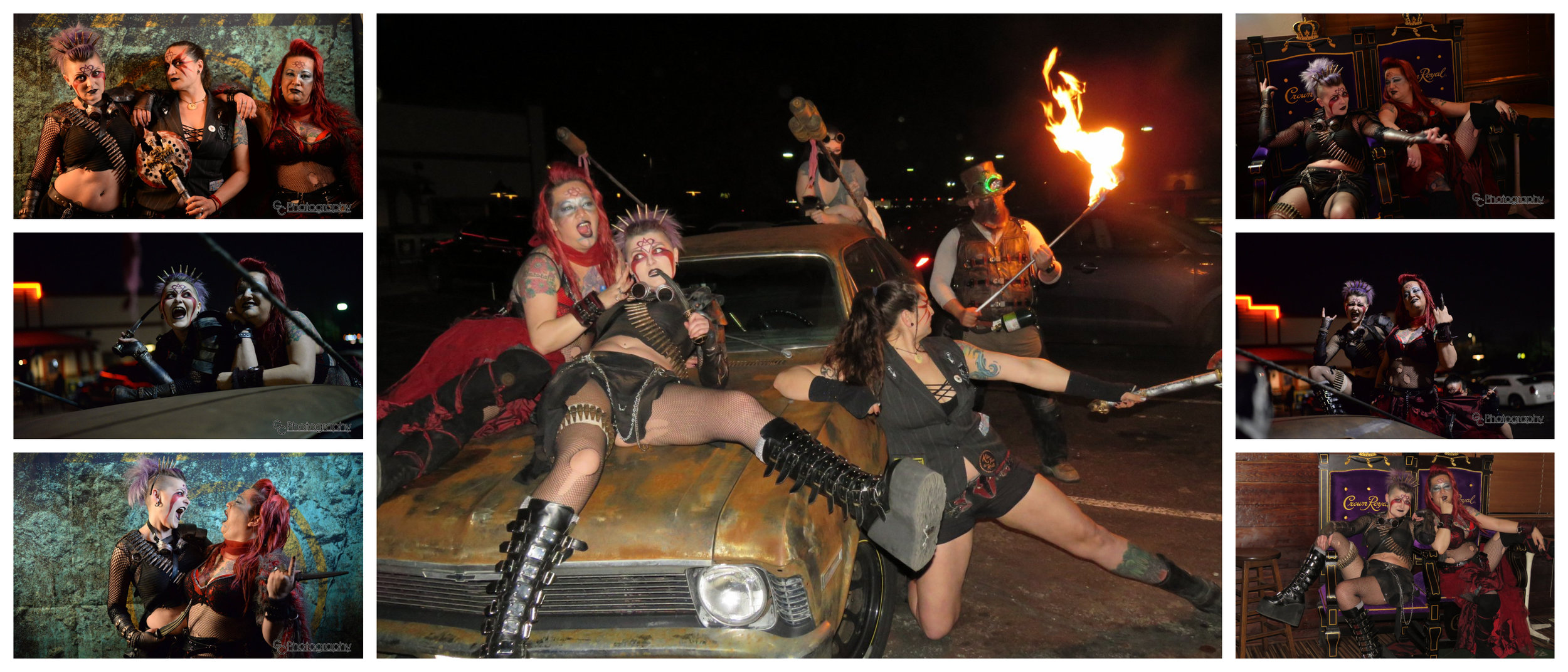 Mischief, Carnage, and Dr. Zeus, flirting with the end of the world. Cry Baby brought his car Razor Nova, and some of our Wastelanders brought the gift of fire! Photos courtesy of CG Photography and Raymond Jesse Schluter.