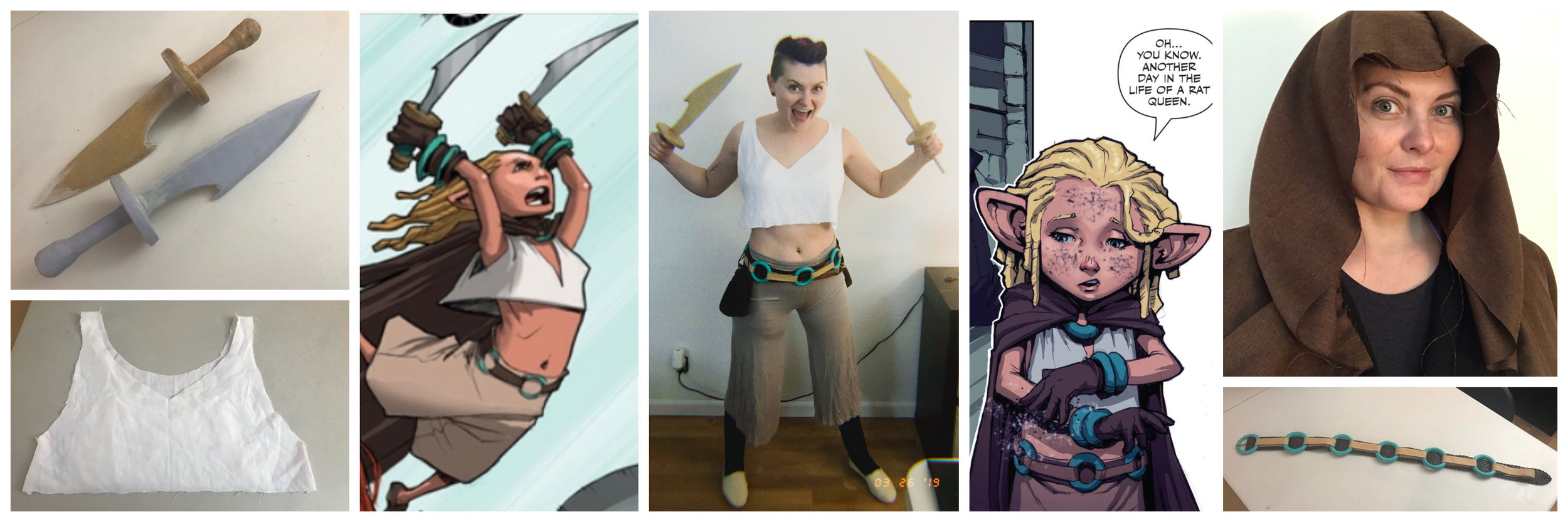 Betty is coming together.  The daggers need work, the shirt is finished, the cloak is almost there.  My two main inspiration pics, because comic characters get drawn differently all the time.  I am especially proud of my belt.  The loops were sewn together then attached to the main belt.  Almost there!