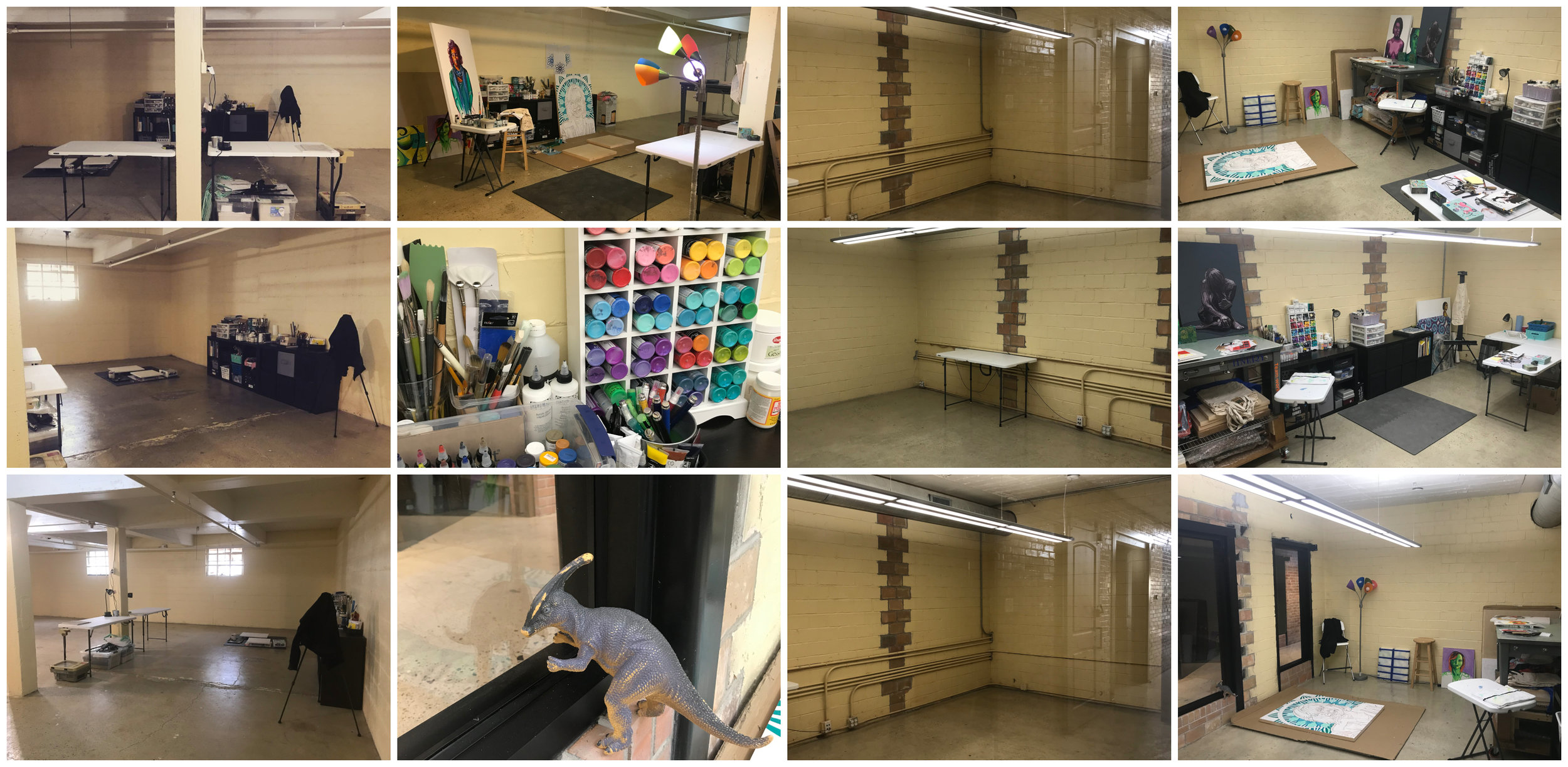 A studio evolution(top to bottom, then left to right): the 3 left photos are from when I first moved in to the basement.  Then I filled it up, even if it was too cold to work in.  Finally, Francis the Dinosaur helped me move in to the new studio upstairs, in which I promptly made a mess.
