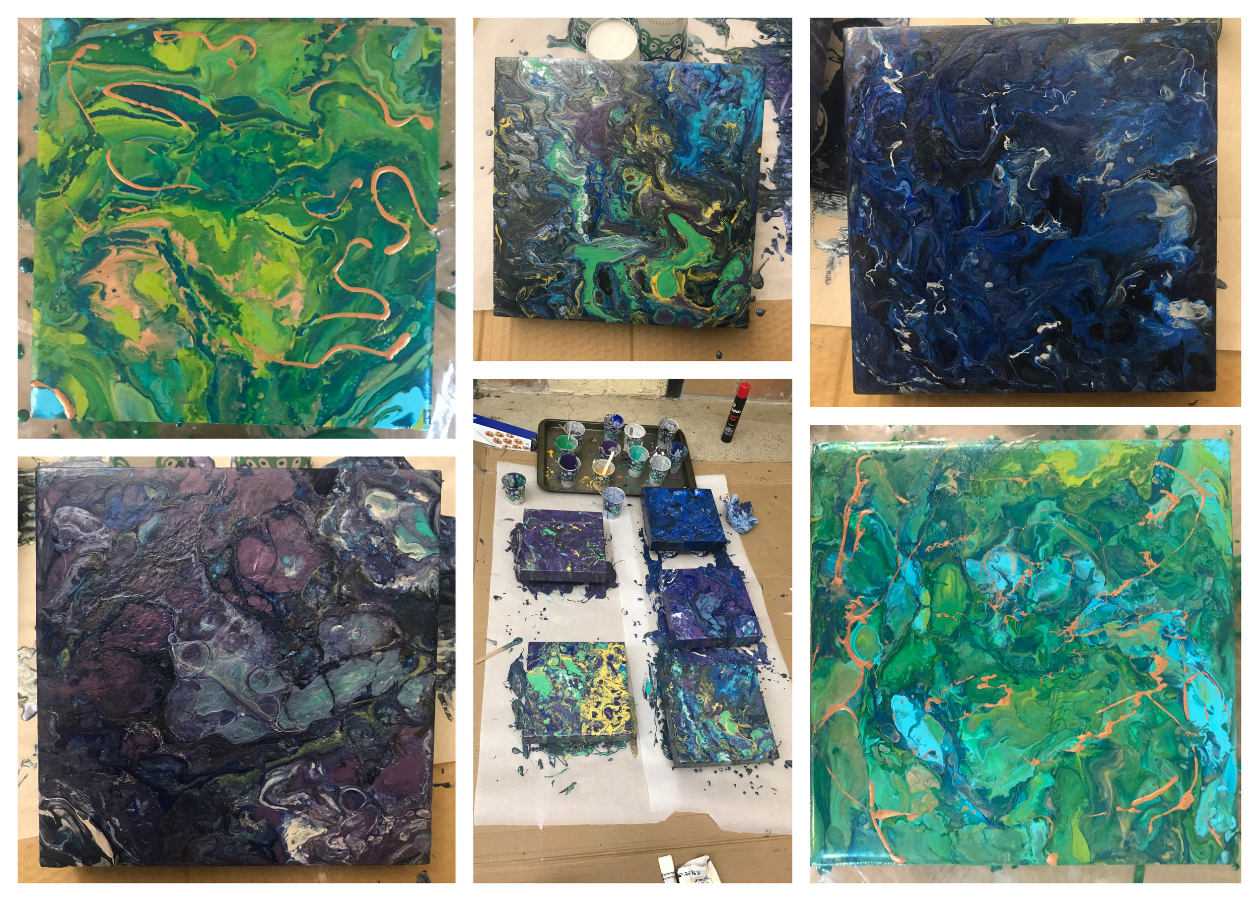 Various Pours as either color studies or stress relief.