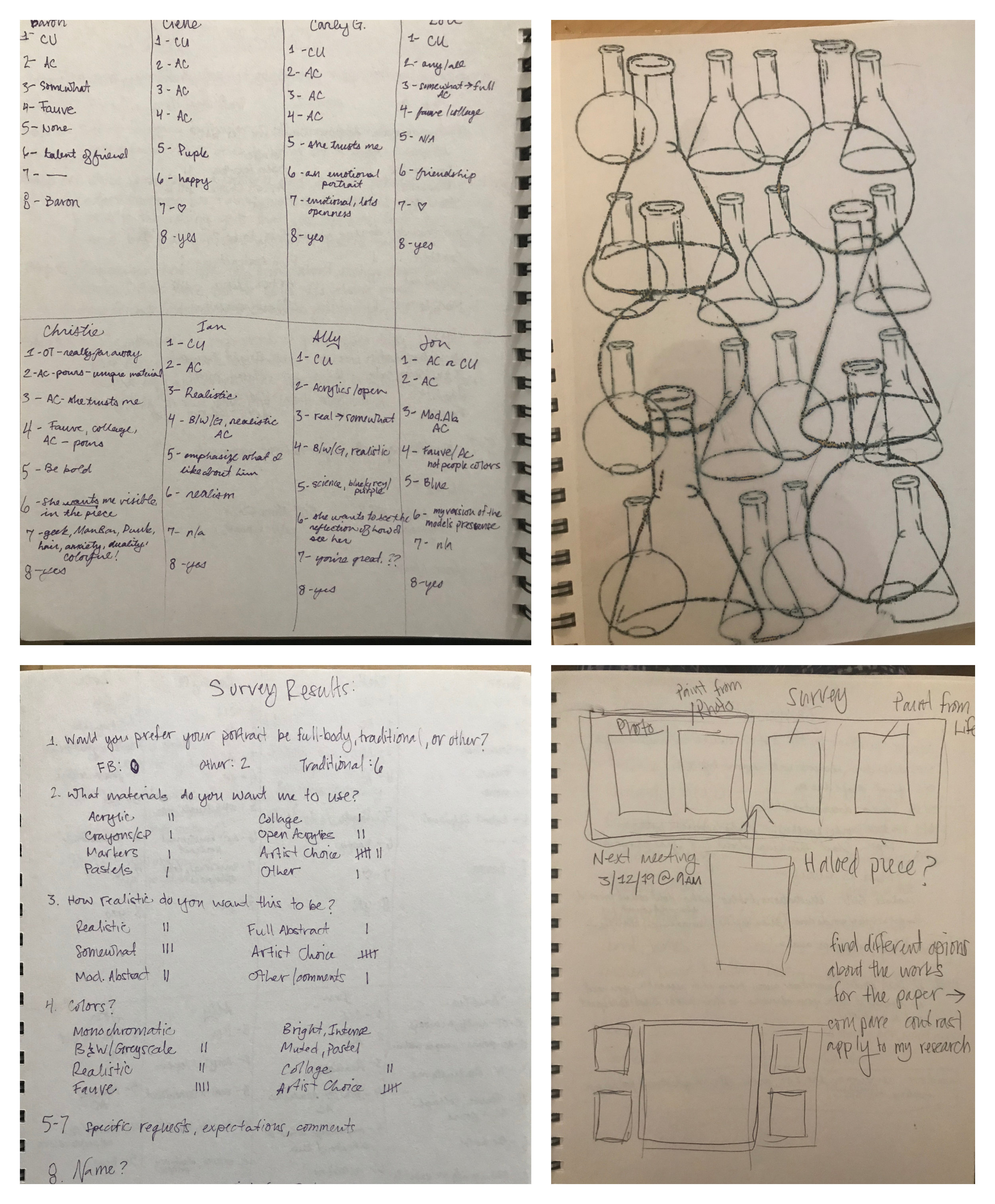 A few random pages from my sketch book and some digital collaging that I printed out as I try to figure out the logististics of hanging the Survey Series, and possible expansions for the series.