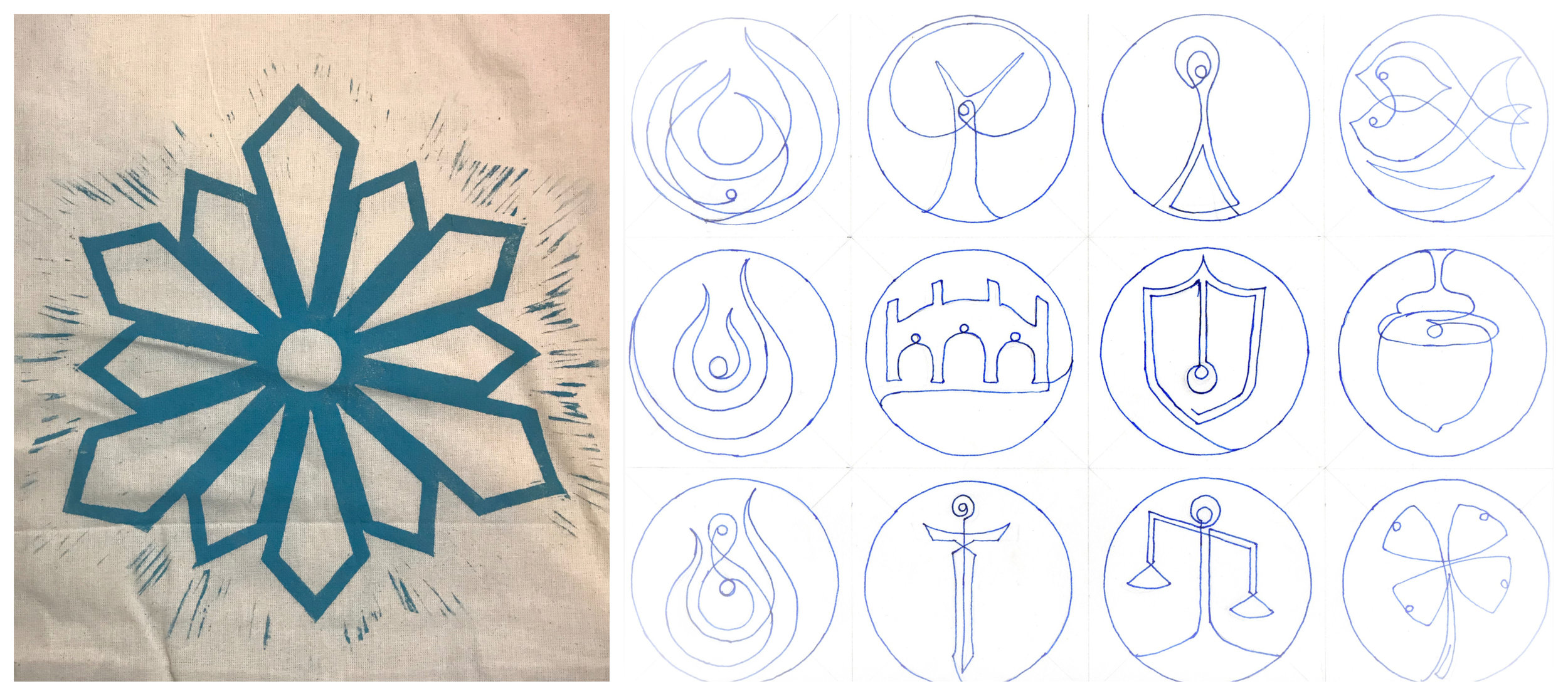 The Symbol of the 12 (we call these our cult bags) and the individual symbols of each god.